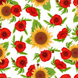 Seamless pattern sunflowers and poppies Stock Images