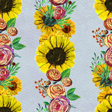 Seamless pattern with sunflowers and roses Stock Photography