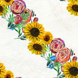 Seamless pattern with sunflowers and roses Royalty Free Stock Photography