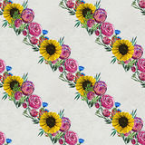 Seamless pattern with sunflowers and roses Royalty Free Stock Image