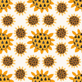 Seamless pattern with sunflowers Stock Photos