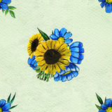 Seamless pattern with sunflowers and wildflowers Stock Photos