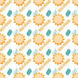 Seamless pattern with sunflowers. Wrapping paper for eco food. Stock Photography