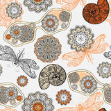 Seamless pattern with sunglasses, flowers, shells Royalty Free Stock Image