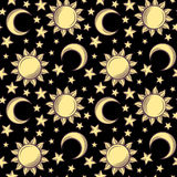 Seamless pattern with suns, moons and stars. Vector illustration. Royalty Free Stock Photography