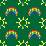 Seamless pattern with suns and rainbows. Drawn by hand. Red, orange, yellow, green, blue, purple color. Vector illustration for children Royalty Free Stock Photos