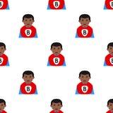 Black Superhero Boy Icon Seamless Pattern Royalty Free Stock Images