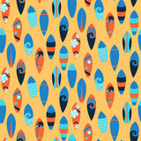 Seamless pattern with surfing boards Stock Photography