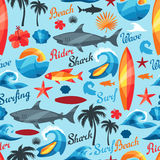 Seamless pattern with surfing design elements and Stock Image