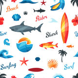 Seamless pattern with surfing design elements Royalty Free Stock Photography