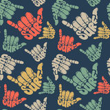 Seamless pattern surfing hand sign Stock Photography