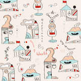 Seamless pattern with  surreal houses Royalty Free Stock Image