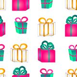 Seamless pattern surround a colorful gift boxes with bows for a birthday or New Year. Seamless pattern from volume bright pink and blue gift boxes with bows for Royalty Free Stock Photos