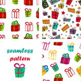 Seamless pattern surround a colorful gift boxes with bows for a birthday or New Year. Set of seamless pattern from volume bright red and green gift boxes with Royalty Free Stock Image