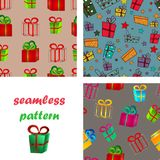 Seamless pattern surround a colorful gift boxes with bows for a birthday or New Year. Set of seamless pattern from volume bright red and green gift boxes with Stock Photo