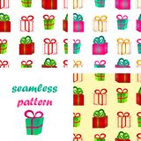 Seamless pattern surround a colorful gift boxes with bows. Set of seamless pattern from volume bright red and green gift boxes with bows for birthday, Christmas Stock Image