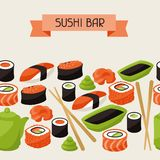 Seamless pattern with sushi Royalty Free Stock Photos