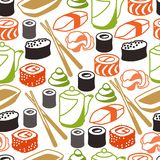Seamless pattern with sushi Stock Photo