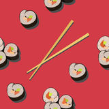 Seamless pattern with sushi roll and chopsticks. On red background Royalty Free Stock Photography