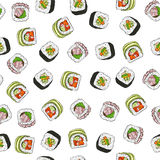Seamless pattern of sushi. Vector seamless pattern sushi assorted, color vector illustration, EPS 10 Royalty Free Stock Photos