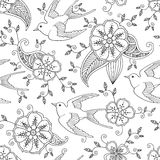 Seamless pattern with swallow bird flying in garden hand drawn Royalty Free Stock Image