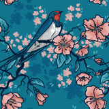Seamless pattern with swallow sitting on blooming tree branches. Sketch style, vector illustration Royalty Free Stock Photography