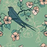 Seamless pattern with swallow sitting on blooming tree branches Royalty Free Stock Photography