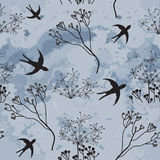 Seamless pattern with swallows and cloudy sky Royalty Free Stock Photo