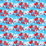 Seamless pattern with swallows and hearts on sky b Stock Photo