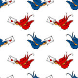 Seamless pattern with swallows, old school tattoo Stock Photography