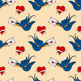 Seamless pattern with swallows, old school tattoo Stock Image