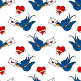 Seamless pattern with swallows, old school tattoo Royalty Free Stock Image