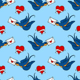 Seamless pattern with swallows, old school tattoo Stock Photo