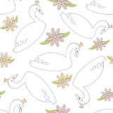 Seamless Pattern with Swan Princess and Flowers Royalty Free Stock Photos