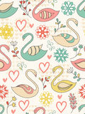 Seamless pattern with swans. Colorful seamless pattern with swans, hearts and flowers Stock Photos