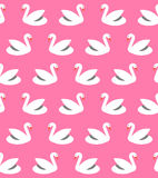 Seamless pattern with swans. Vector seamless pattern with white swans on pink background. Element of design. For web and apps Stock Image