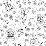 Seamless pattern with sweaters, mittens. Winter vintage seamless pattern with sweaters, mittens and snowflakes. Can be used for wallpaper, gift paper, fabric stock illustration