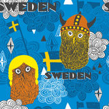 Seamless pattern with swedish theme. Royalty Free Stock Photography