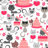 Seamless pattern with sweet baby kittens Stock Photography