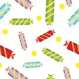 Seamless pattern of sweet, bright,multi-colored candy with bows. On a white background.For printing on fabric,paper for scrapbooking,gift wrap.Assorted Royalty Free Stock Image