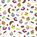 Seamless pattern with sweet cakes and coffee. Colorful hand drawn sweet cakes seamless pattern Stock Photos