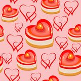 Seamless pattern. Sweet cakes in the shape of heart. Suitable as wallpaper, as a gift wrapping for Valentine`s Day. Creates a stock illustration