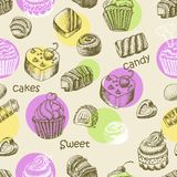 Seamless pattern with sweet cakes and sweets Stock Images