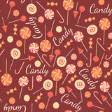 Seamless pattern with sweet candies isolated on Royalty Free Stock Image