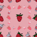 Seamless Pattern with sweet. Seamless Pattern with cartoon berry and juice on pink bacground stock illustration