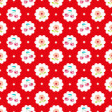 Seamless pattern with sweet cherry and flower. Stock Photos