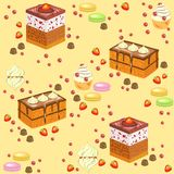 Seamless pattern. Sweet confectionery. Fresh holiday cakes, marshmallows, strawberry sweets. Suitable as wallpaper in the kitchen stock illustration