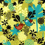 Seamless pattern with sweet couple of birds. Stock Photo