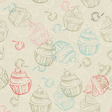 Seamless pattern with sweet cupcakes and berries in vintage style. Wedding background. Retro texture. Stock Photography