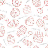 Seamless pattern of sweet cupcakes and cakes on a white backgrou Royalty Free Stock Photos